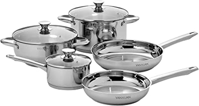 YANXUAN Stainless Steel Cookware Set, 8-Piece Pot and Pan Set with Glass Lids, Dishwasher Safe, Oven Safe