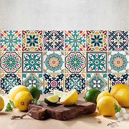 72 (Piezas) Adhesivo para Azulejos 10x10 cm - PS00116 - Málaga - Adhesivo Decorativo para Azulejos para baño y Cocina - Stickers Azulejos - Collage de Azulejos