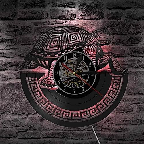 XYLLYT Tortuga Disco de Vinilo Reloj de Pared Reloj de Pared Punk decoración Engranaje decoración Reloj de Pared Reloj de Pulsera Regalo de Amante de los Animales