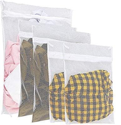 Zacro Laundry Bags White Zippered Mesh Washing Bags Set of 5 (Small 2, Medium 2, Large 1), 25.4 x 15.6 x 3.8 cm