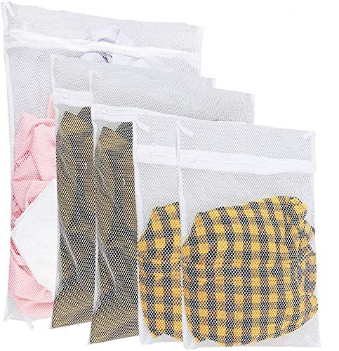 Zacro Laundry Bags White Zippered Mesh Washing Bags Set of 5 (Small 2,...