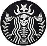 skeleton mermaid PATCH size 6.5 cm biker heavy metal Logo Jacket Vest shirt hat blanket backpack T shirt Patches Embroidered Appliques Symbol Badge Cloth Sign Costume Gift