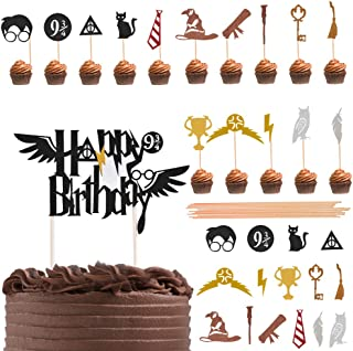 ATPWONZ 31 Pieces Harry Potter Inspired Cupcake Toppers Wizard Birthday Party Decorations for Harry Potter Theme Hogwarts Party Decor