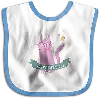 UBCATDESA Cat Ecard Baby Bibs, Unisex Baby Soft Cotton Easily Clean Teething Bibs(Blue&Pink)