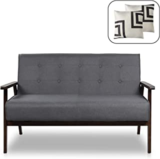 """Mid-Century Modern Solid Loveseat Sofa Upholstered Fabric Couch 2-Seat Wood Armchair Living Room/Outdoor Lounge Chair,50""""W (Fabric)"""