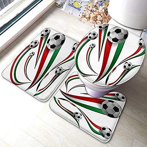 Moily Fayshow Almohadillas Antideslizantes para baño de 3 Piezas Balón de fútbol con Bandera Italiana y Mexicana