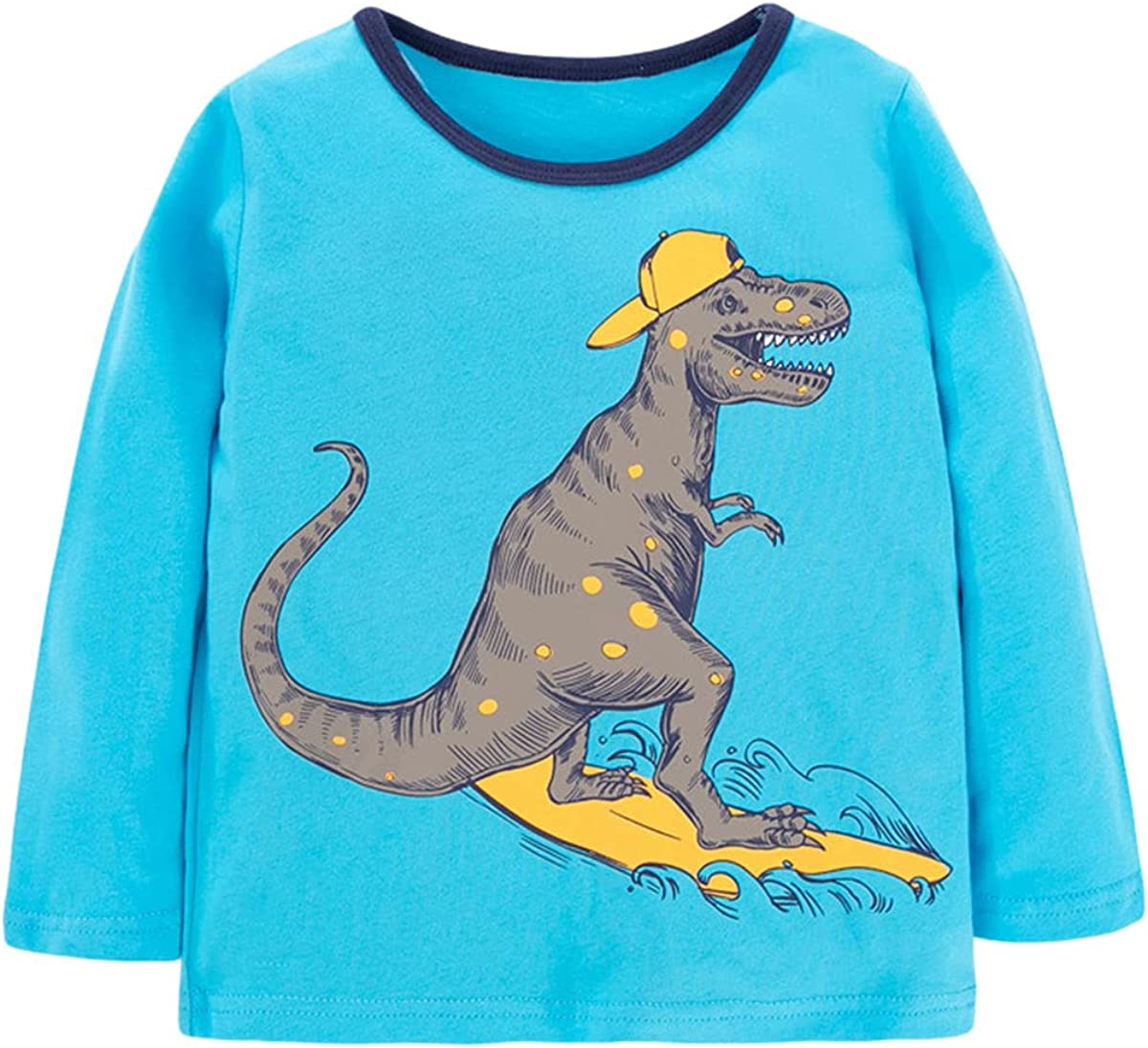 Little Boys Playwear Long-Sleeve T-Shirt Cartoon Graphic Pullover Sweater 100% Cotton Clothes 2-7T