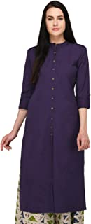 Pistaa's Women's Solid Cotton Kurta with Fold up Sleeves & Plus Size