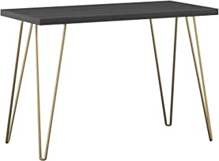 AmazonBasics Retro Hairpin Compact Computer Desk - Black with Gold Legs