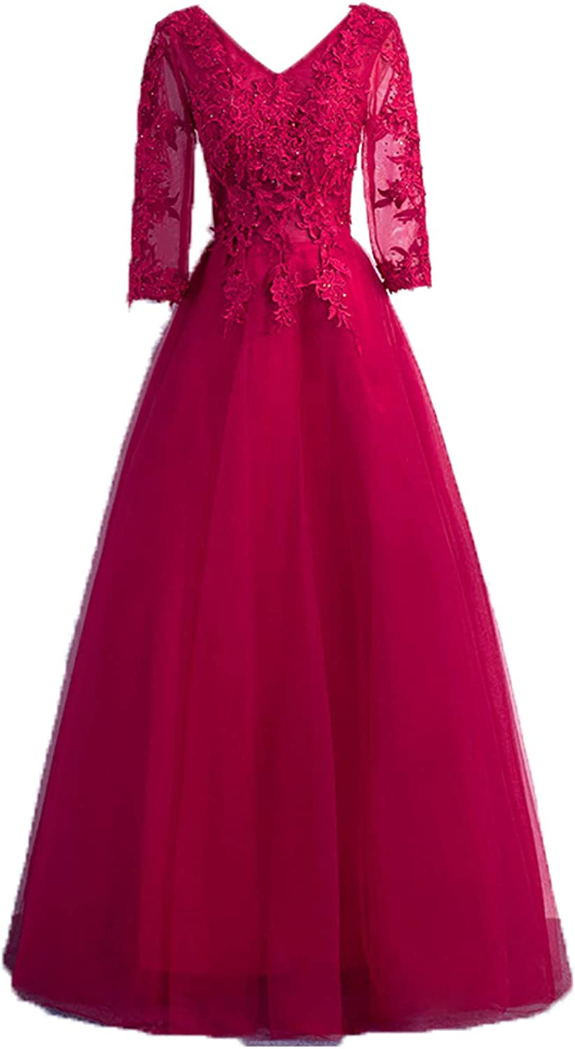DGMJDFKDRFU Long Evening Dresses for Women with Sleeves Formal Wedding LF002