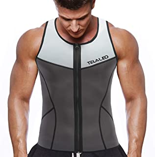 TELALEO Neoprene Sauna Vest for Men, Sweat Shirt Waist Trainer, Body Shaper Slimming Suit Weight Loss
