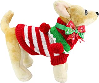 Aiwind Christmas Dog Sweater with Adjustable Bow Tie Collar, Festive Adorable Striped Turtleneck Knitwear with Balls, Warm Soft Winter Holiday Pet Clothes for Dog Puppy Kitten Cat