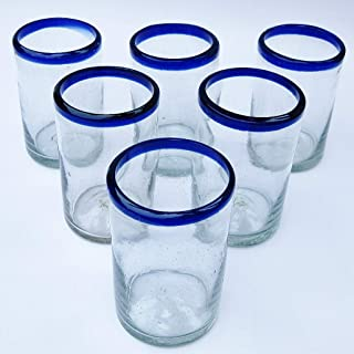 Mexican Blown Glass Drinking Glasses Cobalt Blue Rim (Set of 6)
