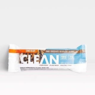 Ready Nutrition CLEAN Bar, 15g Protein for Lean Muscle Mass, 7g Fiber for Satiety, Great for Muscle Building, Muscle Recovery and Weight Loss - Dark Chocolate Blueberry Almond (51g, Pack of 12)