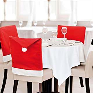 Amonercvita 4 PCS Red Santa Hat Chair Covers Christmas Chair Back Covers Dining Chair Slipcovers Chair Cover for Xmas Holiday Party Festive Decoration