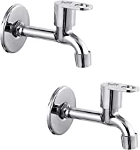 Prestige MAX Long Body-Pack of 2 SS Chrome Finish Long Body Pillar Cock Bib Cock for Bathroom Kitchen Wasbasin tap Faucets Bib Tap Faucet (Wall Mount Installation Type)