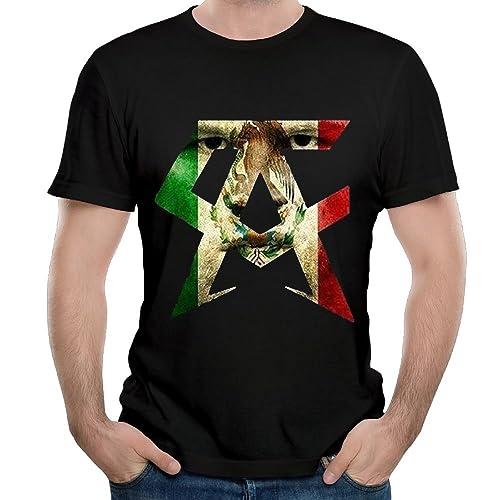 ZHIJIANSHIGONG Mens Canelo Alvarez Casual Style Running Black T-Shirts Short Sleeve