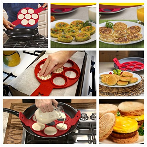 Q4U Pancake Maker Moulds New Pancake Mould Non Stick Silicone Breakfast Maker Egg Ring Omelette Flip Tool