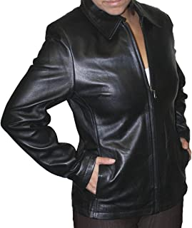 Women Genuine Lamb Leather Zipper Closure Leather Jacket