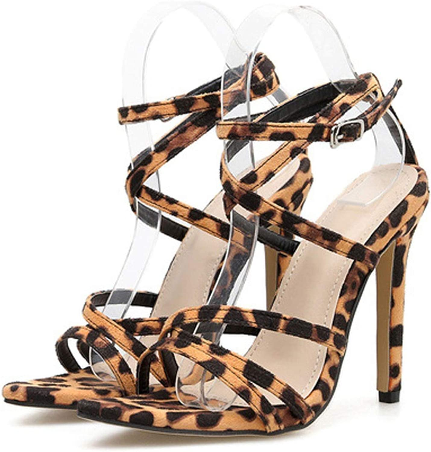Shine-shine Thin High Heel Sandals Women Sexy Leopard Snakeskin Sandals Ankle Rap