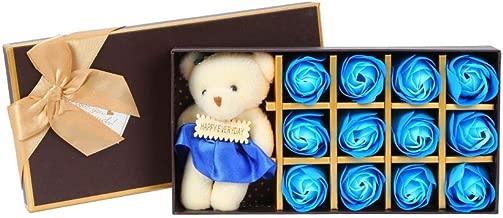 Scrafts Blue 12 Scented Bath Soap Rose Petals & Teddy Bear Gift Box Set