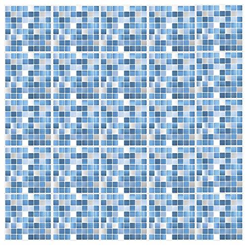 Soekodu 25pcs Adesivi per Piastrelle Parete in Metallo, Impermeabili Autoadesivi Adesivi Piastrelle Mosaico Cucina Bagno Piastrelle Trasferimenti Peel And Stick Backsplash (25,20x20CM/7.9x7.9pollici)
