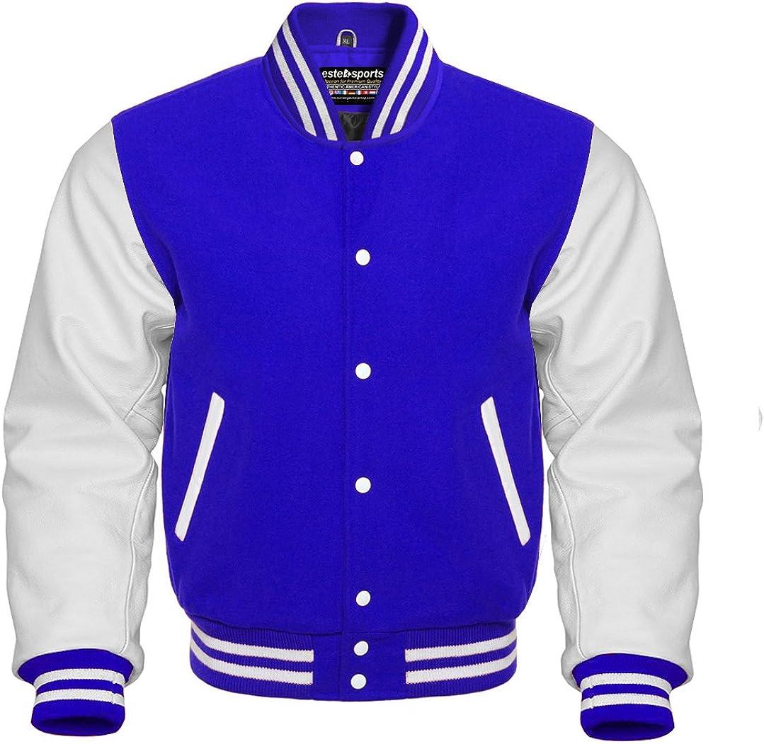 Men's Original American Varsity Real White Leather Letterman College Baseball Royal Blue Wool Jackets