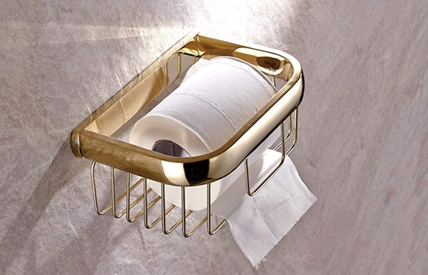 LUDSUY Bathroom Accessories Luxury Polished gold color Brass Square Wall Mounted Bathroom Toilet Paper Roll Basket Holder Bathroom Accessory