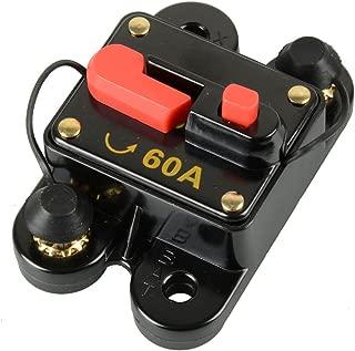 Asdomo 12V-24V DC Circuit Breaker Trolling Motor Auto Car Marine Boat Bike Stereo Audio Inline Fuse Inverter Waterproof with Manual Reset 60A 60 Amp