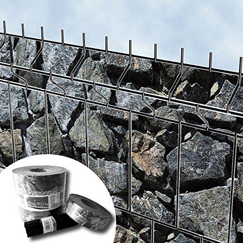 textile design, protection visuelle « brise-vue » pour les panneaux de clôtures à double fils horizontaux – sans PVC (débris de grosses pierres)