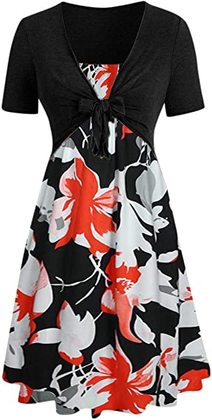 TOTOD Dress Suits For Women Fashion Short Sleeve Bow Knot Bandage Top Sunflower Print Minidress