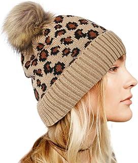 بوهيند ليوبارد قبعة صغيرة محبوكة مع فرو صناعي بوم دافئ قبعة صغيرة لينة تمتد كابل اكسسوارات الشعر للنساء والفتيات مموه، متوسط