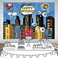 HD7X5FTスーパーヒーローの街並みの写真の背景スーパーヒーローの街の写真の背景男性の子供の誕生日パーティーの装飾ビニールスタジオの小道具11475