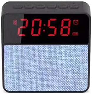 Cloth Clock Bluetooth Speaker Card Bluetooth Speaker Phone Audio Wireless Subwoofer Clock Display,Gray
