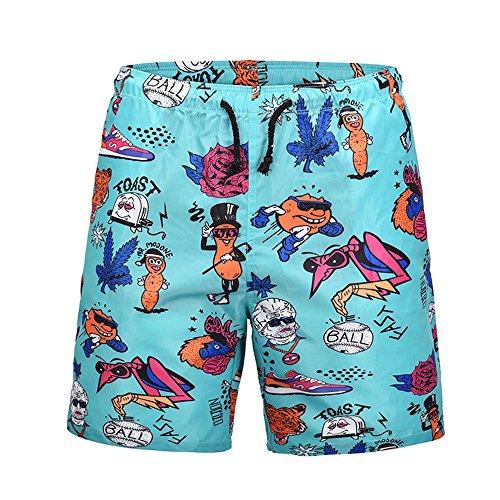 WHLDK Slips De Bain 2018 Grande Taille Créative À Séchage Rapide Confortable Lâche Men's Beach Shorts Green XL