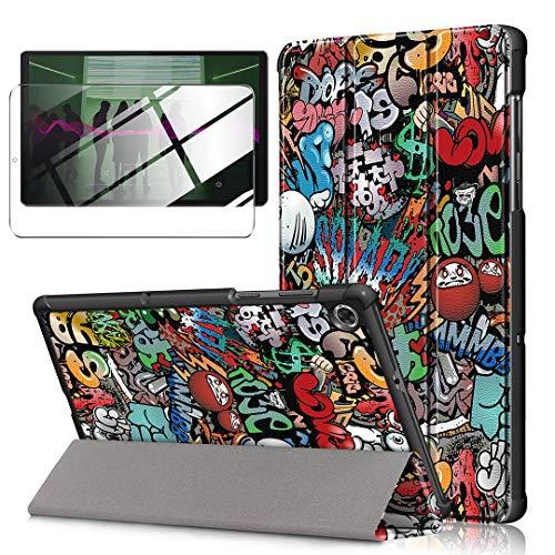 LJSM Custodia + Vetro Temperato per Lenovo Tab M10 FHD Plus 10.3' TB-X606F / TB-X606X - Pellicola Protettiva, Guscio Supporto Protettiva Tablet Cover in Pelle Flip PU Case - Graffiti