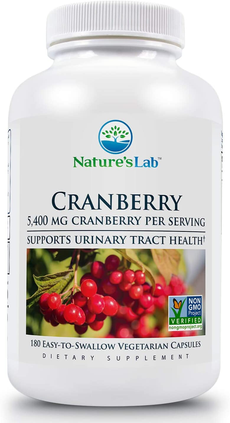 Nature's Lab, Cranberry 5400mg Dietary Supplement – Supports Urinary Tract Health Cleanse and Protect Capsules Day Supply ZNLB17491, White Bottle, 180 Count