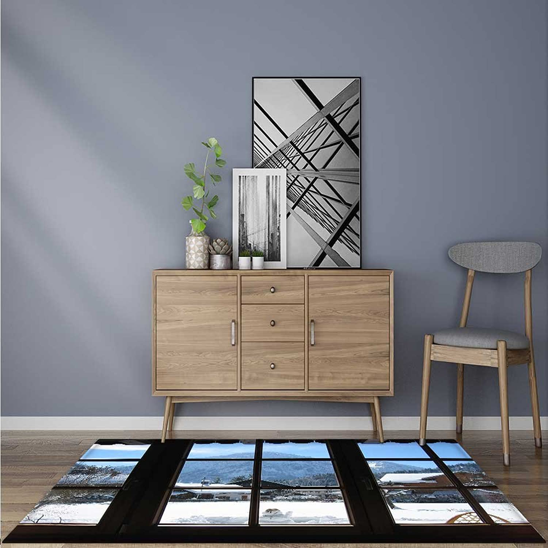Indoor Outdoor Floor Mat Snow Outside The Window Easy Clean 5' X 7'