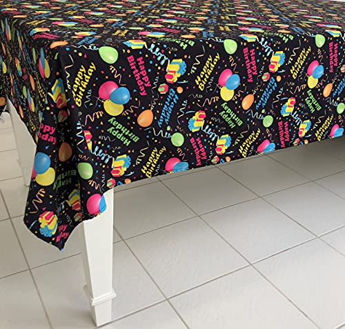 Celebration Tablecloths 70 X 70 Inch Happy Birthday Tablecloth Black Restaurant Quality Fabric Machine Wash and Dry No Wrinkles No Iron No Stains Made in USA Birthday Party Supplies
