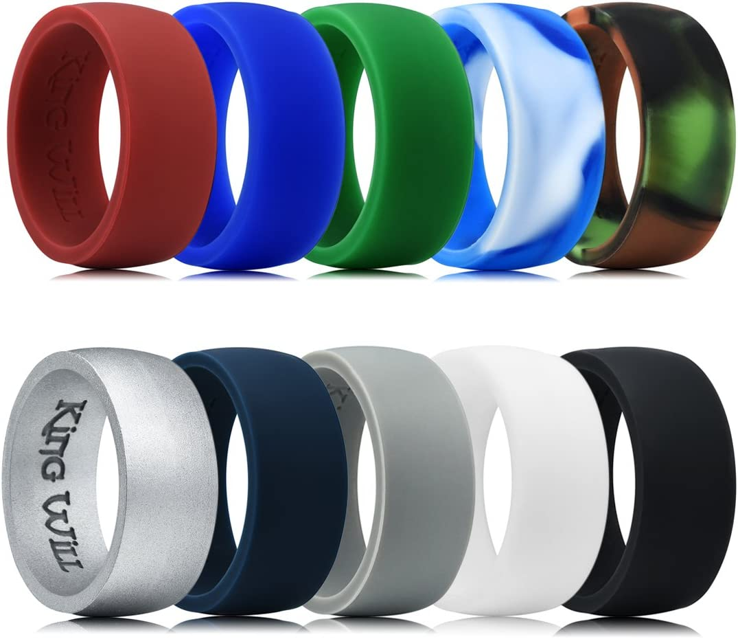 Classic Styles 13 King Will Motion Silicone Wedding Ring for Men 10 Packs Silicone Rubber Wedding Bands