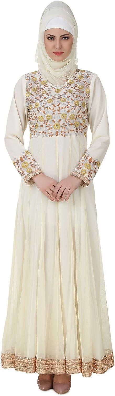 MyBatua Zaeemah Net & Crepe Off White Abaya Stylish Dress AY441