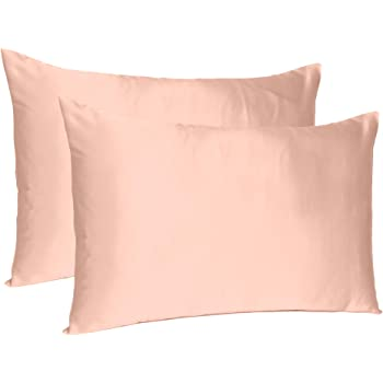 Oussum Satin Silk Soft and Comfortable Silky Terracotta Pillow Case Cover for Hair and Skin Home Decor (Standard -20X26 Inches)