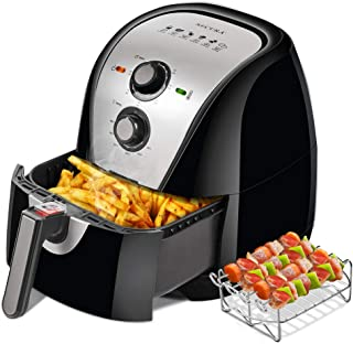 Secura Air Fryer XL 5.3 Quart 1700-Watt Electric Hot Air Fryers Oven Oil Free Nonstick Cooker w/Additional Accessories, Recipes, BBQ Rack & Skewers for Frying, Roasting, Grilling, Baking (Sivler)