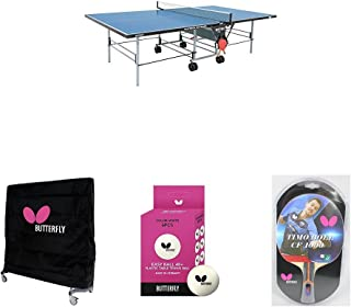 Butterfly Playback Rollaway Indoor/Outdoor Table Tennis Table in Blue with Weatherproof Cover, 2 Timo Boll Carbon Fiber Rackets, and 6 Balls