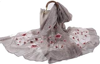 Embroidered Silk Scarf Shawls, Mulberry Silk Scarves Shawls, Christmas Gift Silk Shawls Wrap Long Silk Floral Headscarf
