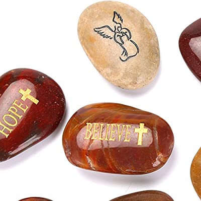 12PCS RockIpact Engraved Guardian Angel Stones Hope Love Faith Believe Inspiration Worry Healing Stones Novelty Serenity Prayer Rock, Pocket Sized Shiny Pebbles (Set of 12, Bulk Lot)