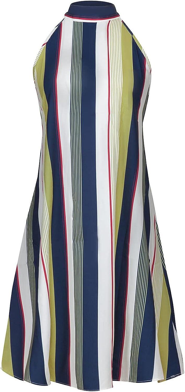 iQKA Women Halter Dress Striped Floral Print Sleeveless Summer Casual Swing Dress A-Line Style Sexy Short Mini Dress