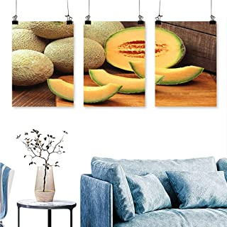 SCOCICI1588 3 Panels Triptych Mature Hami Melon in Xinjiang for Home Modern Decoration No Frame 30 INCH X 47 INCH X 3PCS