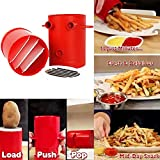 Isuper Potatoes Maker French Fries Maker Potato slicers French Fries Cutter Machine Microwave Container 2-in-1(Red) 1Pcs