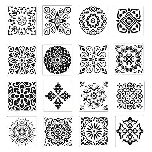 Artibetter 2 Sets Mandala Puntjes Stencils Mandala Schilderij Sjabloon Diy Rotsen Stenen Muur Canvas Canvas Houten Vloeren Muur Stof Meubels Stencils